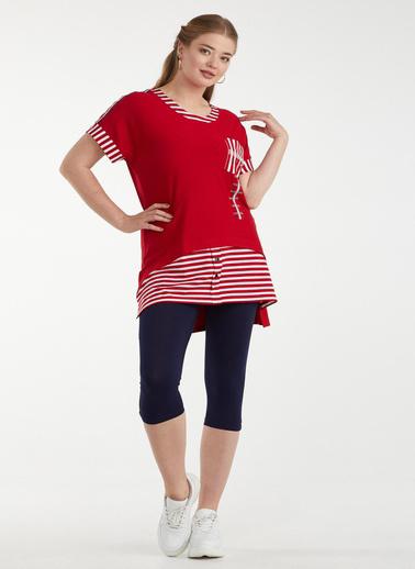 Sementa Kadın Çizgi Detaylı Tunik Takım - Kırmızı - Lacivert Kırmızı